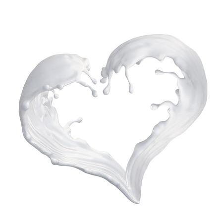 silhouette coeur: splash de lait, lait en forme de coeur d'onde, illustration 3d isol� sur blanc