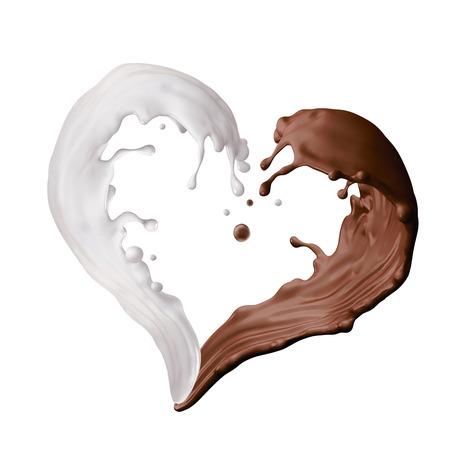 leche y derivados: leche mezclada y líquido bienvenida de chocolate, forma de corazón salpicaduras, ilustración 3d aislado en blanco