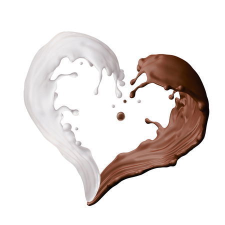 white chocolate: mixed milk and chocolate liquid splash, heart shape splashing, 3d illustration isolated on white