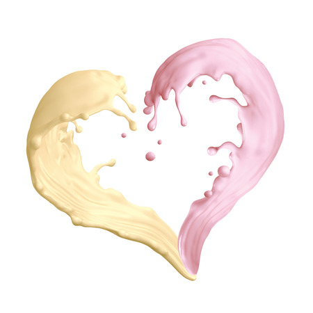 splash mixed: mixed banana strawbery milkshake splashing, liquid splash heart shape, 3d illustration isolated on white
