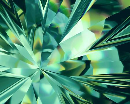 3d abstracte smaragdgroene kristallen achtergrond, facet geslepen glas