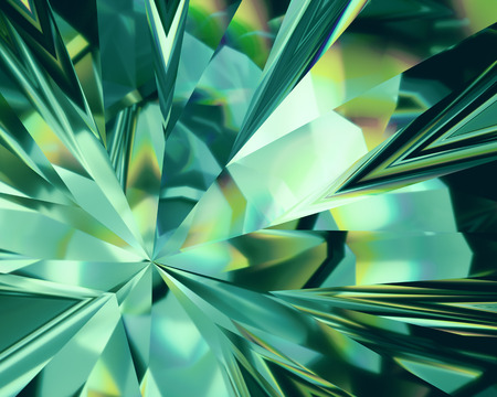 3d abstract emerald green crystal background, faceted glass