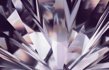 3d abstract amethyst silver crystal background, faceted glass wallpaper