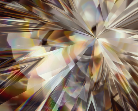 3d abstract golden crystal background, faceted glass
