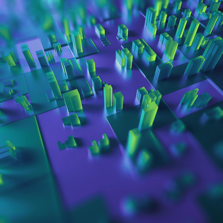 emerald city: 3d abstract geometric background, green glass cubes