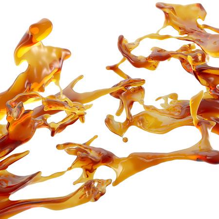 pegamento: 3d abstracto salpicaduras de líquidos; miel, aceite, té, zumo, jarabe, caramelo Foto de archivo