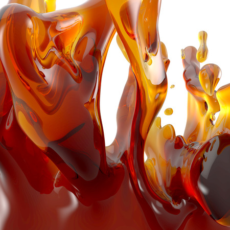 3d abstract liquid splash; honey, oil, tea, juice, syrup, caramel