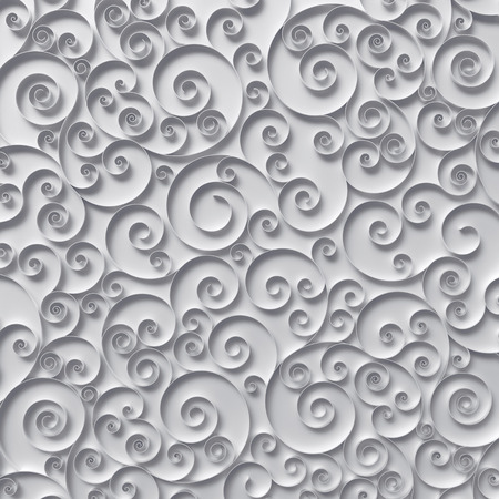 abstract curly background, 3d quilling ribbons, white paper spiral lines ornament