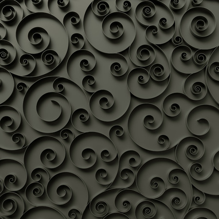 quilling: abstract curly background, 3d quilling ribbons, black spiral lines ornament