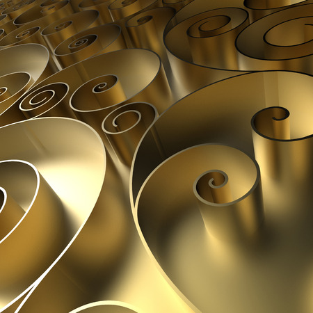 abstract curly background, 3d quilling ribbons, gold spiral lines ornament