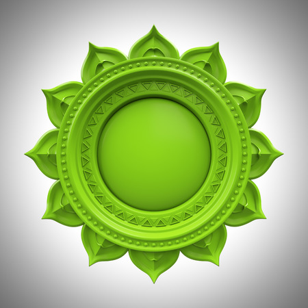 sacred lotus: green Anahata heart chakra base, 3d abstract symbol, isolated color design element Stock Photo
