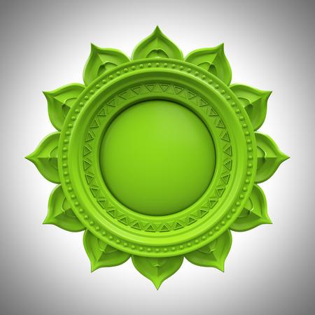 muladhara: green Anahata heart chakra base, 3d abstract symbol, isolated color design element Stock Photo