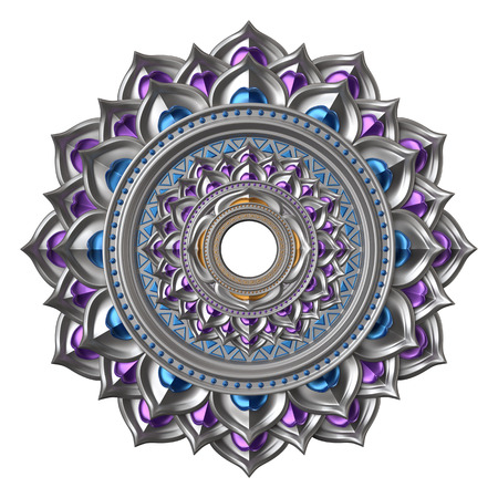 kundalini: 3d chakra element isolated on white, esoteric symbol