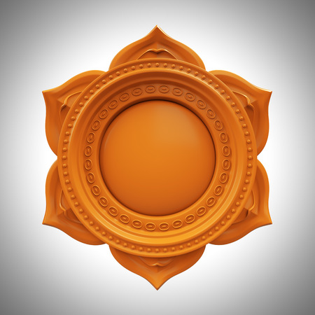 prana: orange Svadisthana spleen chakra base, 3d abstract symbol, isolated color design element Stock Photo