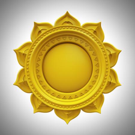 Amarillo Manipura base de chakra del plexo solar, símbolo abstracto 3d, aislado en color elemento de diseño Foto de archivo - 39076534
