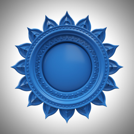 블루 Visuddha 목 차크라베이스, 3d 추상적 인 기호, 격리 된 색상 디자인 요소