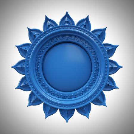 Azul Visuddha base de chakra de la garganta, símbolo abstracto 3d, aislado de color elemento de diseño Foto de archivo - 39076535