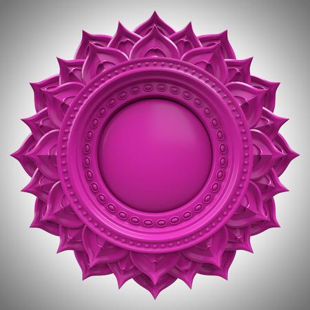 보라색 Sahasrara 크라운 차크라 자료, 3d 추상적 인 기호, 고립 된 컬러 디자인 요소 스톡 콘텐츠