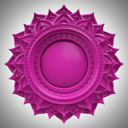 violet Sahasrara crown chakra base, 3d abstract symbol, isolated color design element photo