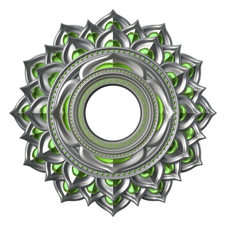 anahata: 3d chakra element isolated on white, esoteric symbol