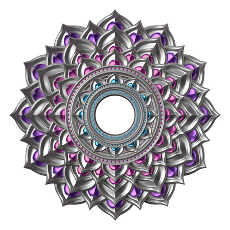 chrome base: 3d chakra element isolated on white, esoteric symbol