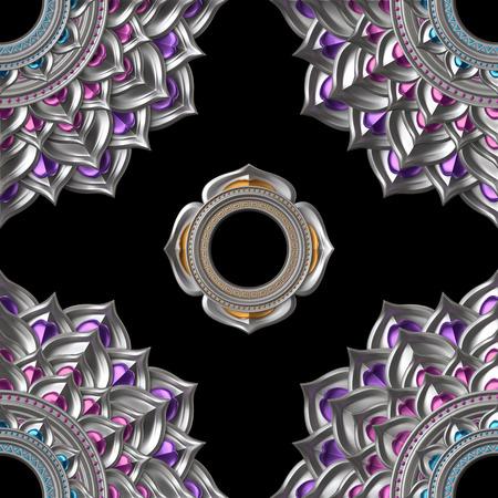 svadhisthana: seamless abstract chakra pattern, geometric background Stock Photo