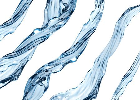 3 차원 현실적인 워터 제트 세트, 아쿠아는 투명한 액체 흰색 배경에 고립 스톡 콘텐츠