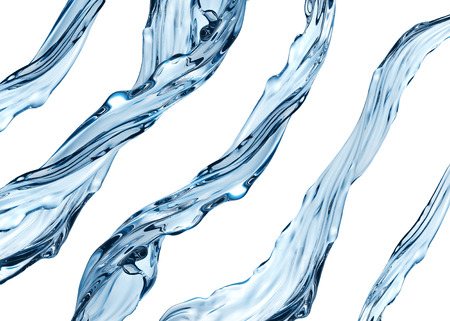 3d realistic water jets set, aqua, clear liquid isolated on white background