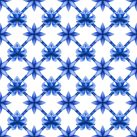 chinaware: abstract blue floral seamless trellis pattern, lattice ornament