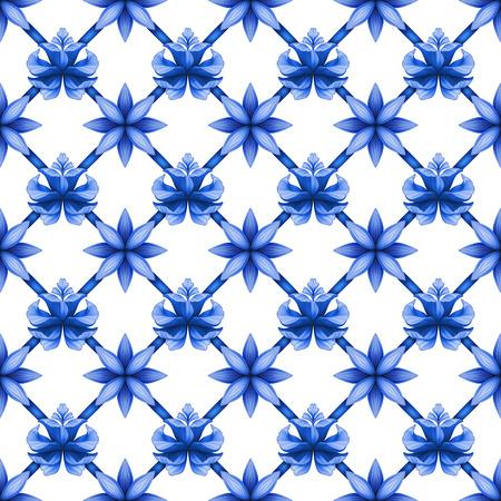 trellis: abstract blue floral seamless trellis pattern, lattice ornament