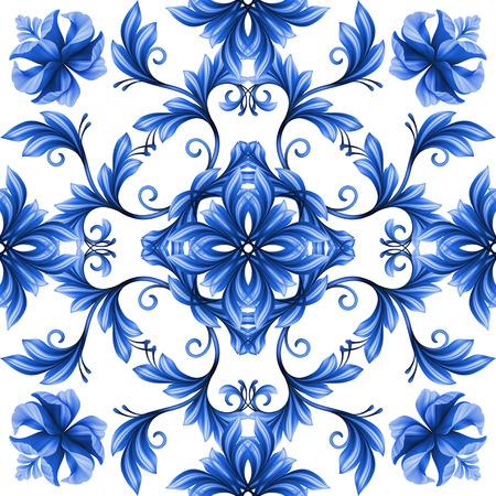 추상 꽃 원활한 패턴, 파랑, 흰색 gzhel 장식 스톡 콘텐츠