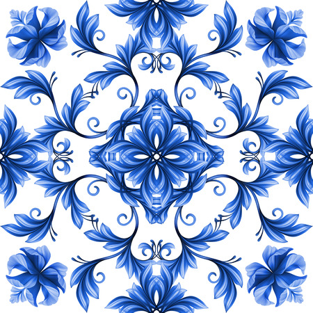 abstract floral seamless pattern, blue white gzhel ornament Banco de Imagens