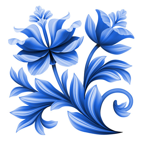 asian tulips: abstract floral element, blue flowers illustration isolated on white