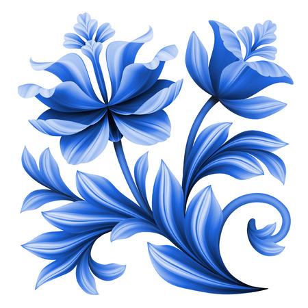 lirio blanco: elemento floral abstracto, flores ilustración azul aislado en blanco Foto de archivo