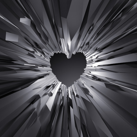 corazon cristal: 3d black crystal heart background, abstract crystallized wallpaper