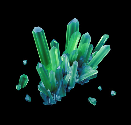 green and black: abstract green mineral crystal, 3d gem nugget illustration Stock Photo