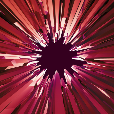 crystallization: 3d red crystal hole background, abstract faceted wallpaper Stock Photo