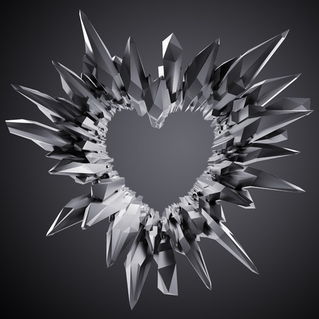 crystallized: 3d black crystal heart illustration, crystallized brutal background Stock Photo