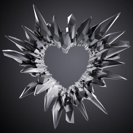 crystal heart: 3d black crystal heart illustration, crystallized brutal background Stock Photo