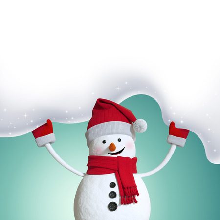 snow background: 3d snowman holding snow banner, Christmas background