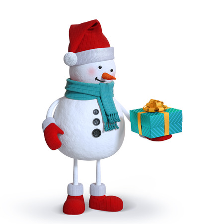 snowman holding gift box,  isolated 3d clip art