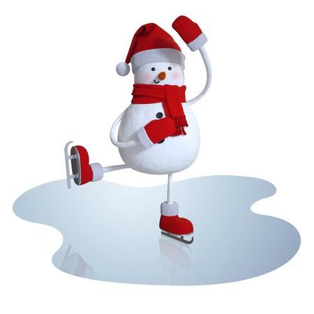3d sneeuwman kunstschaatsen, wintersporten clipart Stockfoto