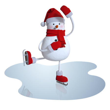 3d snowman figure skating, winter sports clipart
