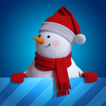 christmas background: snowman Christmas background, 3d illustration