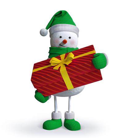 bonhomme de neige: bonhomme de neige tenant coffret cadeau, clip art 3d isol� Banque d'images