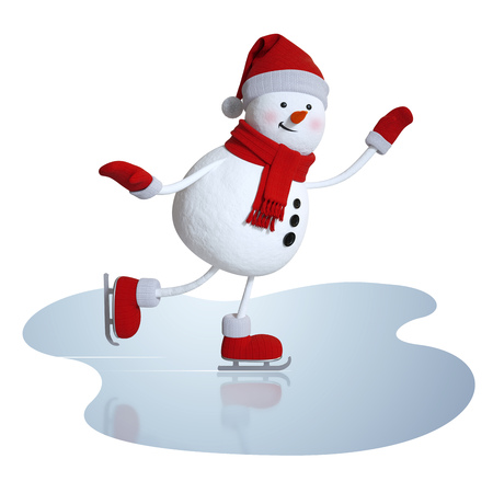 snowman isolated: 3d snowman figure skating, winter sports clipart