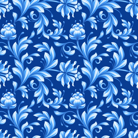 chinoiserie: abstract floral seamless pattern, background with folk art flowers, blue white gzhel ornament Stock Photo