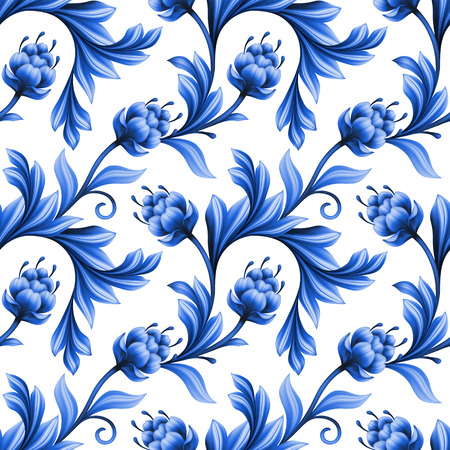 gzhel: abstract floral seamless pattern, background with folk art flowers, blue white gzhel ornament Stock Photo