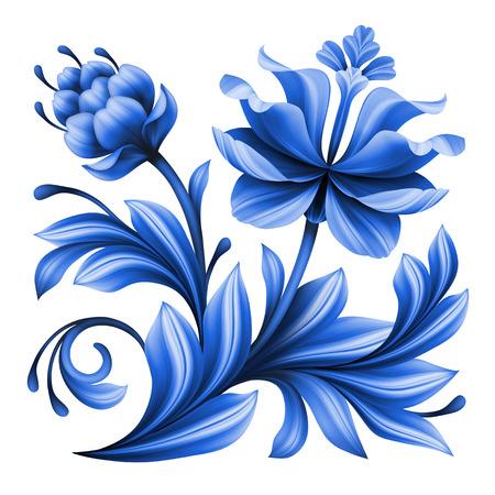 asian gardening: artistic floral element, abstract gzhel folk art, blue flower illustration isolated on white background