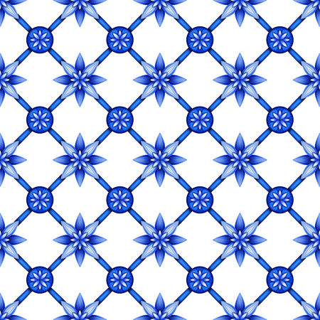 chinaware: abstract floral seamless pattern, blue white gzhel trellis, lattice ornament